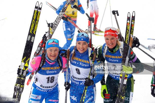 Dorothea Wierer of Italy wins the gold medal Ekaterina Yurlovapercht of Russia wins the silver medal Denise Herrmann of Germany wins the bronze medal...
