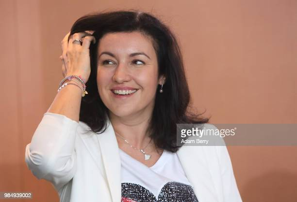 Dorothee Baer state minister for digitalization arrives for the weekly German federal Cabinet meeting on June 27 2018 in Berlin Germany High on the...