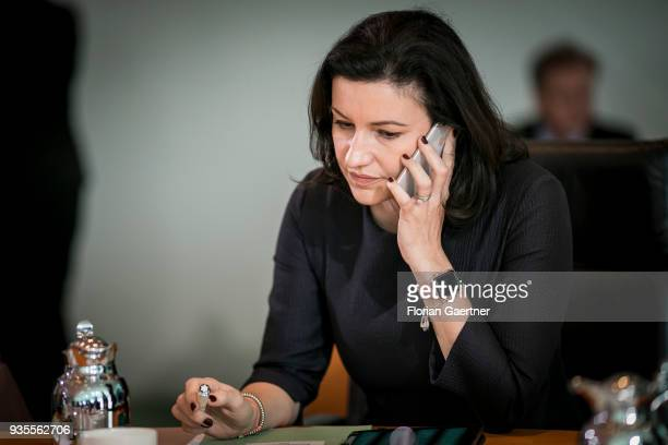 Dorothee Baer State Minister for Digitalization phones before the weekly cabinet meeting of the Federal Government on March 21 2018 in Berlin Germany