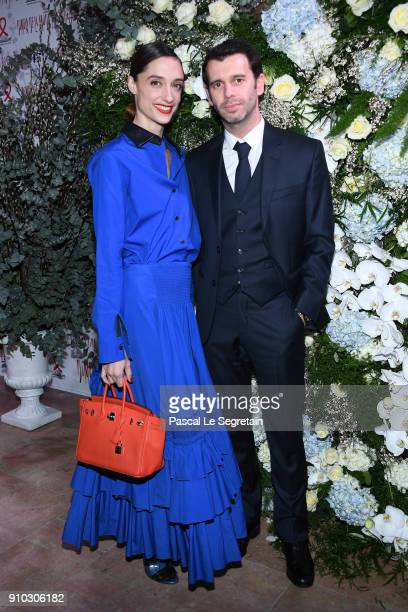 Dorothee Gilbert and a guest attend the 16th Sidaction as part of Paris Fashion Week on January 25 2018 in Paris France