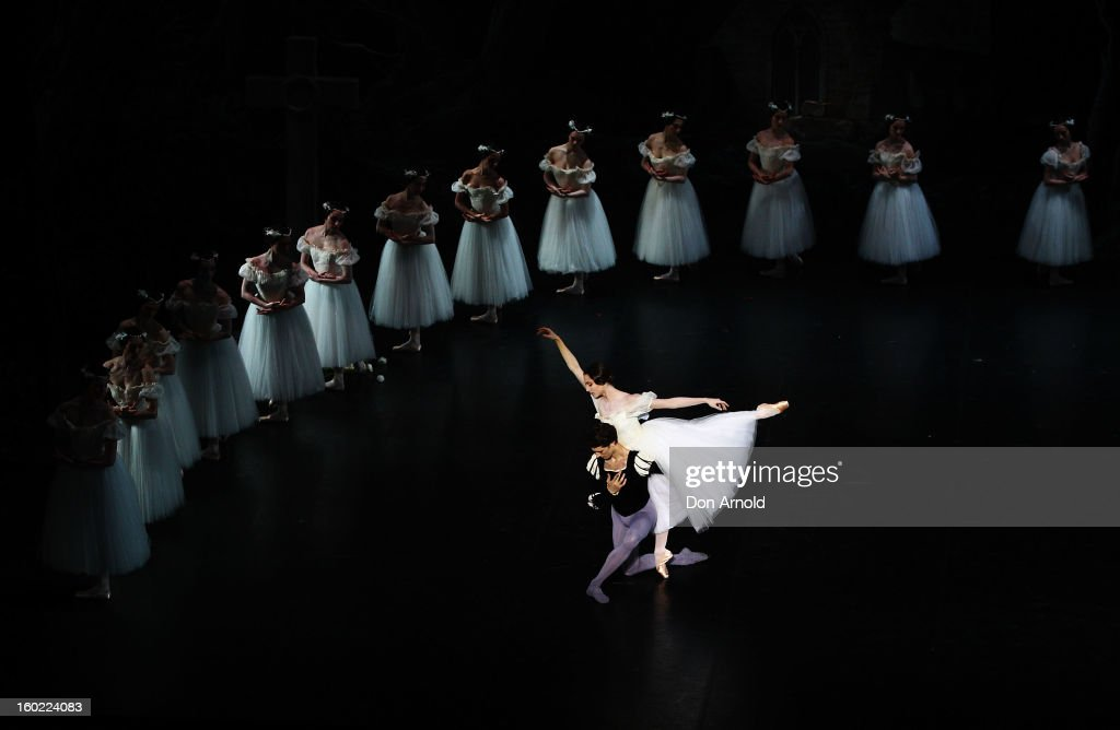 Dorothee Gilbert performs the role of Giselle and Mathieu Ganio performs the role of The Prince during the Paris Opera Ballet production of Giselle at the Capitol Theatre on January 28, 2013 in Sydney, Australia.