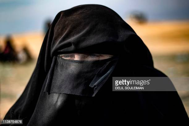 TOPSHOT Dorothee Maquere wife of French jihadist JeanMichel Clain is pictured at a screening area in the eastern Syrian province of Deir Ezzor after...