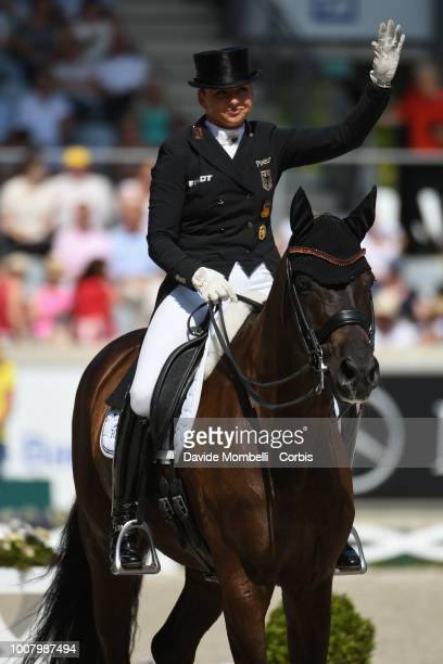 Dorothee Schneider of Germany riding Sammy Davis Jr during the dressage individual Final Grand Prix of Aachen Freestyle to music CDIO Deutsche Bank...