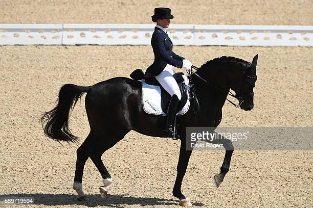Dorothee Schneider of Germany riding Showtime Frh competes in the Dressage Individual Grand Prix Freestyle on Day 10 of the Rio 2016 Olympic Games at...
