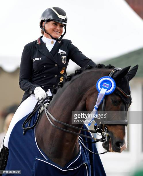 Dorothee Schneider of Germany , smiles during the German Dressage and Show Jumping Championships on June 5, 2021 in Balve, Germany.