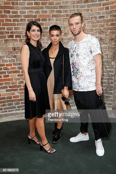 Dorothee Schumacher Alina Sueggeler and Andi Weizel attend the Schumacher show during the MercedesBenz Fashion Week Spring/Summer 2015 at Sankt...