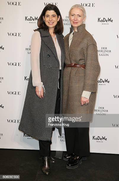 Dorothee Schumacher and Christiane Arp attend 'Der Berliner Mode Salon' Pop Up Shop Cocktail as part of Der Berliner Mode Salon during the...