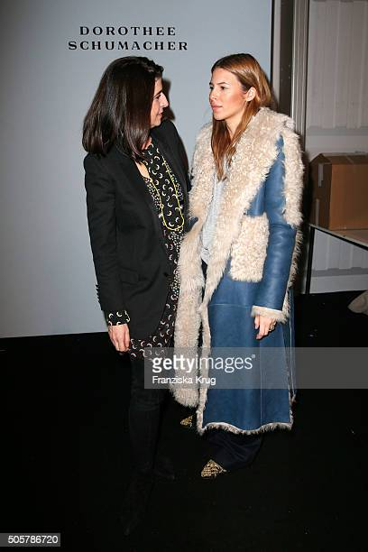 Dorothee Schumacher and Maja Wyh attend the Dorothee Schumacher in cooperation with Mastercard show during the MercedesBenz Fashion Week Berlin...