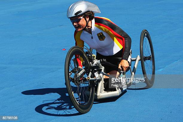 Dorothee Vieth of Germany wins the Bronze in the Road Cycling Women's Time Trial at the Triathlon Venue during day six of the 2008 Paralympic Games...