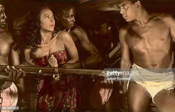 Dorothy Dandridge and Alex Cressan on the set of Tamango directed by John Berry