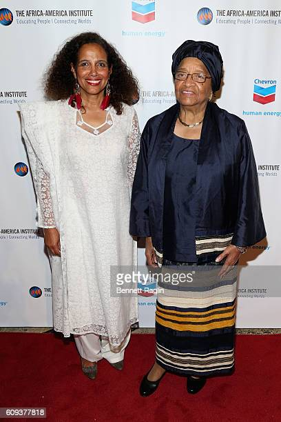 Dorothy Davis and president of Liberia Ellen Johnson Sirleaf attend the AfricaAmerica Institute's 2016 Annual Awards Gala at Cipriani 25 Broadway on...