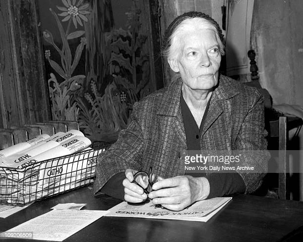 Dorothy Day head of Catholic Worker inside the worker officeat 175 Christie St