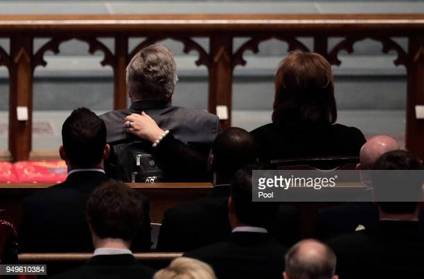 Dorothy 'Doro' Bush Koch right comforts former President George H W Bush during a funeral service for former first lady Barbara Bush at St Martin's...