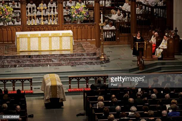 Dorothy 'Doro' Bush Koch speaks during a funeral service for her mother former first lady Barbara Bush at St Martin's Episcopal Church SApril 21 2018...