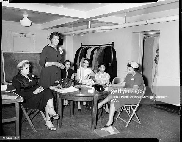 Dorothy Height addressing officers and members of Delta Sigma Theta sorority seated from left Janet Hamilton Nancy Lee Mary Baltimore Florence May...