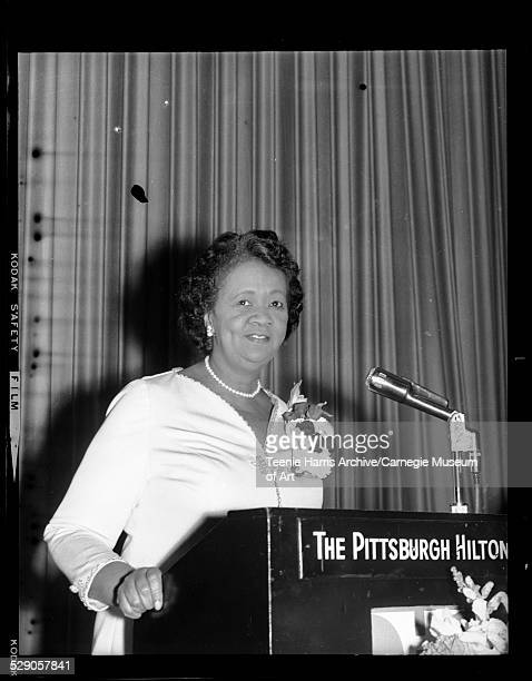 Dorothy Height speaking from podium in Pittsburgh Hilton Hotel Pittsburgh Pennsylvania circa 19501975