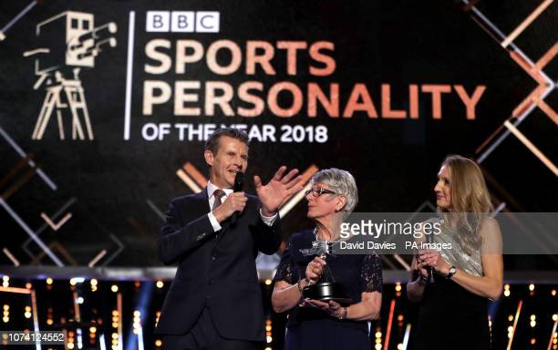 Dorothy Hyman is presented with BBC Sports Personality of the Year award from 1963 that she didn't receive at the time from Steve Cram and Paula...