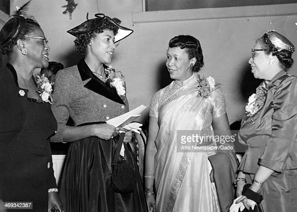 Dorothy I Height, president of the National Council of Negro Women, with several other women attend the 41st Founders' Day program of Rocky Mount...