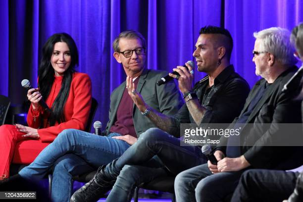 Dorothy, Jonathan McHugh, Jose Mangin and Andy Gould speak onstage at Reel To Reel: Long Live Rock…Celebrating The Chaos at the GRAMMY Museum on...