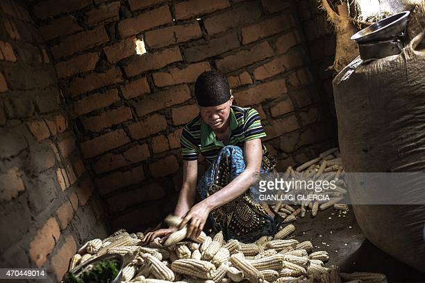 Dorothy Mausen a 22yearold Malawian albino woman working at her home in the traditional authority area of Nkole Machinga district on April 17 2015...