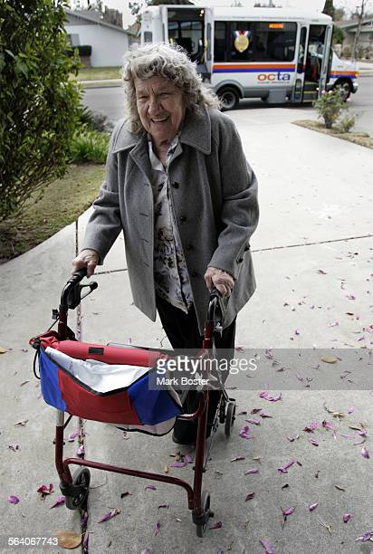 –Dorothy Miller arrives at her Anaheim home after a ride on the OCTA Access van Veolia Transportation the company that contracts with the Orange...