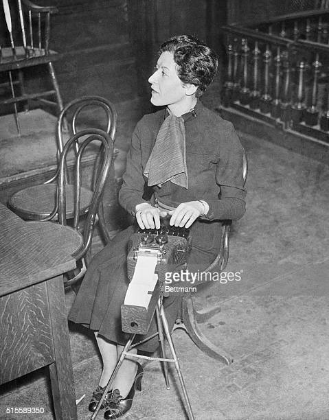 Dorothy Siegal court reporter for the Hunterdon County Courthouse records testimony during the trial of Bruno Richard Hauptmann who is charged with...
