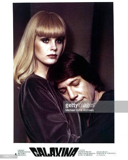 Dorothy Stratten And Stephen Macht embrace in a scene from the film 'Galaxina' 1980
