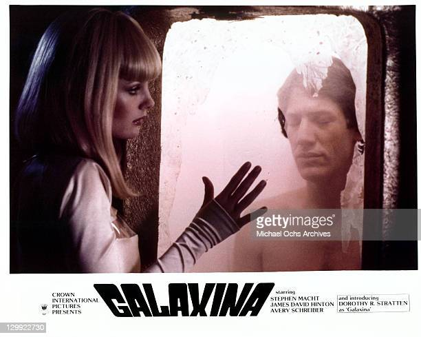 Dorothy Stratten And Stephen Macht in a scene from the film 'Galaxina' 1980