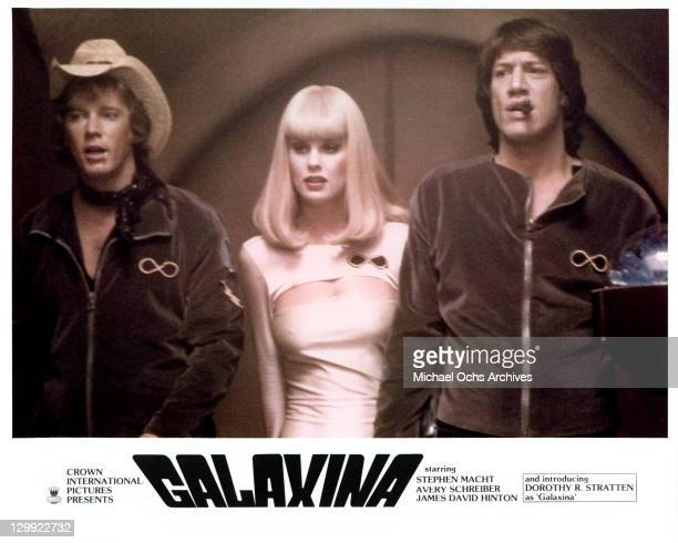 Dorothy Stratten center in a scene from the film 'Galaxina' 1980