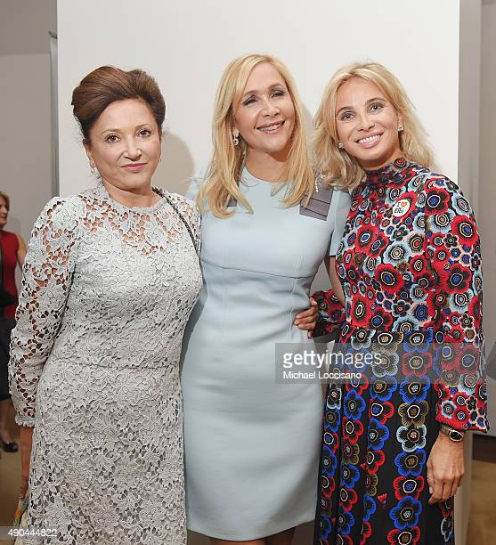 Dorrit Moussaieff Tania Bryer and Strategic Advisor Corinna SaynWittgenstein attend the CNBC panel at The Core Club on September 27 2015 in New York...