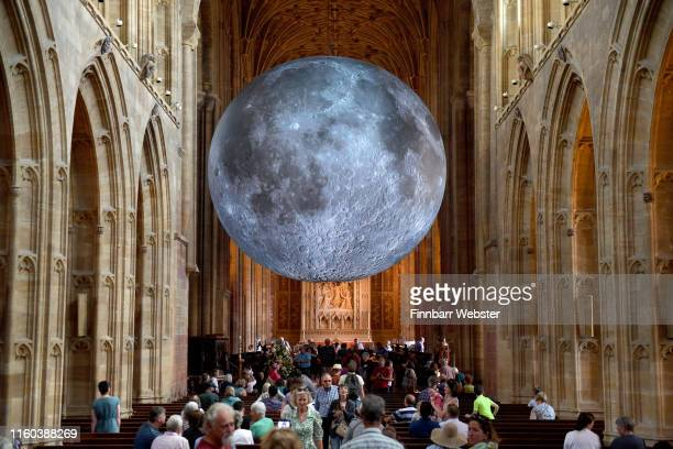 Dorset Moon featuring artist Luke Jerram's renowned Museum of the Moon artwork is displayed in Sherborne Abbey on July 06 2019 in Sherborne England...