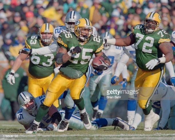 Dorsey Levens Running Back for the Green Bay Packers runs the ball on a punt return during the National Football Conference Central game against the...