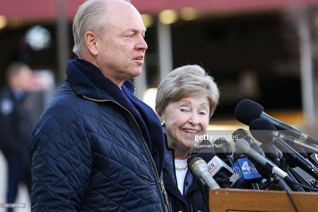 Dorthy Moxley, mother of Martha Moxley, who was killed in 1975, stands with her son John Moxley while speaking to the media before leaving a Stamford, Connecticut courthouse after a hearing on Kennedy relative Michael Skakel on November 21, 2013 in Stamford, Connecticut. Skakel was set free on bail after his murder conviction in the death of Martha Moxley was vacated last month after a judge decided he did not receive adequate representation in his 2002 trial. Skakel, who was set free on a bail of $1.2 million, was convicted of the 1975 murder of neighbor Moxley and will now face a new trail.