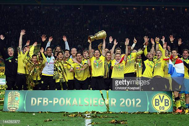 Dortmund celebrates winning 52 the DFB Cup final match between Borussia Dortmund and FC Bayern Muenchen at Olympic Stadium on May 12 2012 in Berlin...