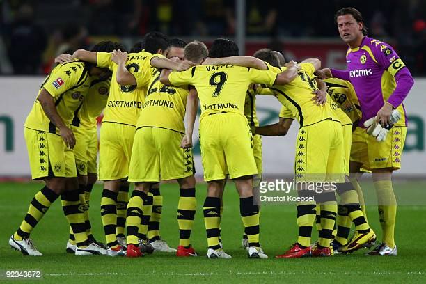 Dortmund comes together prior to the Bundesliga match between Bayer Leverkusen and Borussia Dortmund at the BayArena on October 23, 2009 in...