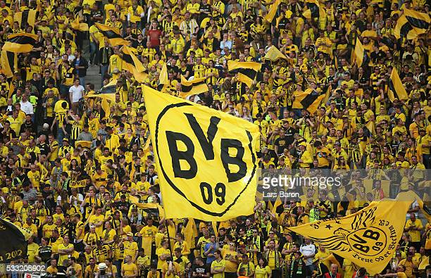 Dortmund fans show their support prior to the DFB Cup Final between Bayern Muenchen and Borussia Dortmund at Olympiastadion on May 21 2016 in Berlin...