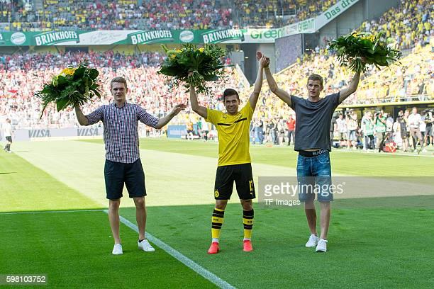 Dortmund Germany 1Bundesliga 1 Spieltag BV Borussia Dortmund 1 FSV Mainz 05 21 Matthias Ginter Raphael Guerreiro und Sven Bender
