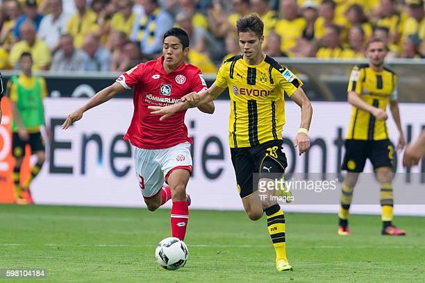 Dortmund Germany 1Bundesliga 1 Spieltag BV Borussia Dortmund 1 FSV Mainz 05 21 Yoshinori Muto gegen Julian Weigl