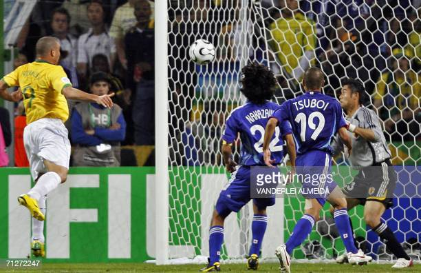 Brazilian forward Ronaldo scores and egalizes during the opening round Group F World Cup football match Japan vs Brazil 22 June 2006 in Dortmund...