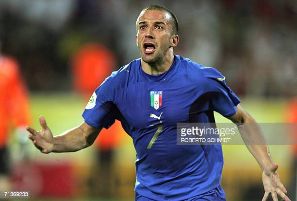 Italian forward Alessandro Del Piero celebrates after scoring the second goal for his team during the semifinal World Cup football match between...