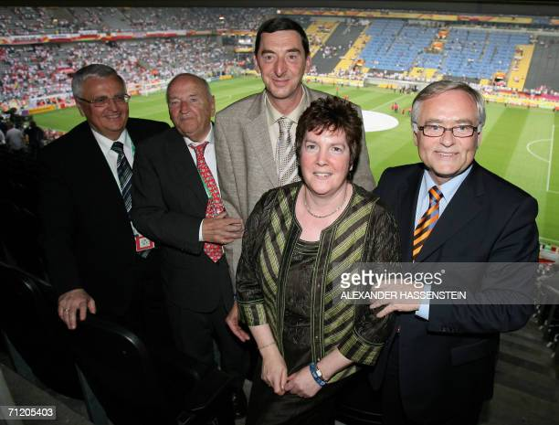 President of German Football Association Theo Zwanziger former president Egidius Braun former French policeman Daniel Nivel Laurette Nivel and Horst...