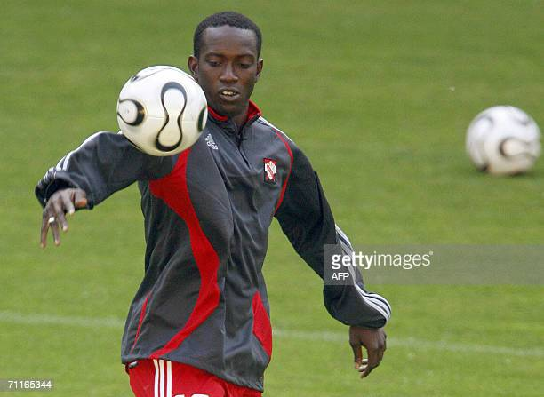 Trinidad and Tobago's forward Dwight Yorke controls the ball during a training session in Dortmund 09 June 2006 Trinidad Tobago will face Sweden 10...