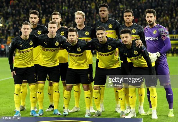 Dortmund line up during the UEFA Champions League group F match between Borussia Dortmund and Slavia Praha at Signal Iduna Park on December 10, 2019...