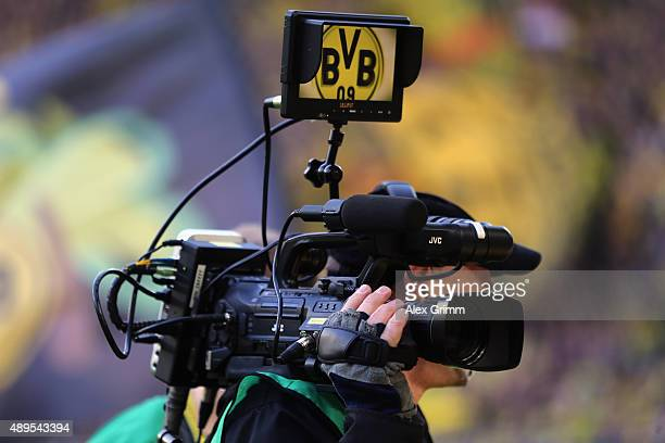 Dortmund logo is seen on a camera screen prior to the Bundesliga match between Borussia Dortmund and Bayer Leverkusen at Signal Iduna Park on...