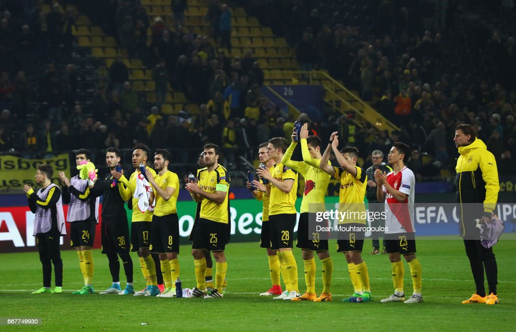 Dortmund players applaud the fans after the UEFA Champions League Quarter Final first leg match between Borussia Dortmund and AS Monaco at Signal Iduna Park on April 12, 2017 in Dortmund, Germany. The match was rescheduled after an alleged terrorist attack on the Borussia Dortmund team coach as it made it's way to the stadium.