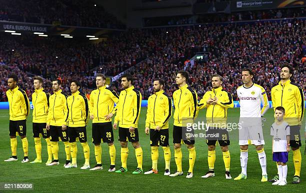 Dortmund players line up during the UEFA Europa League quarter final second leg match between Liverpool and Borussia Dortmund at Anfield on April 14...