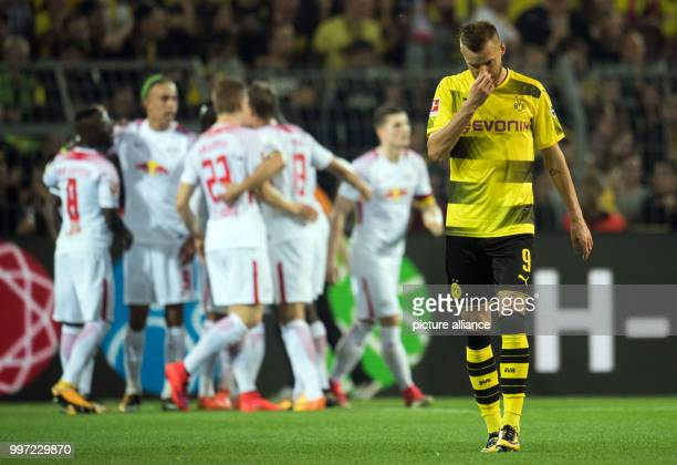 Dortmund's Andrey Yarmolenko disappointed after his received a goal for the 21 during the German Bundesliga soccer match between Borussia Dortmund...