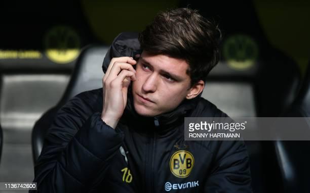 Dortmund's Argentinian defender Leonardo Balerdi looks on ahead the German First division Bundesliga football match between Borussia Dortmund and...