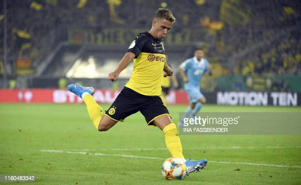 Dortmund's Belgian forward Thorgan Hazard kicks the ball during the German Cup first round football match KFC Uerdingen 05 v Borussia Dortmund at the...