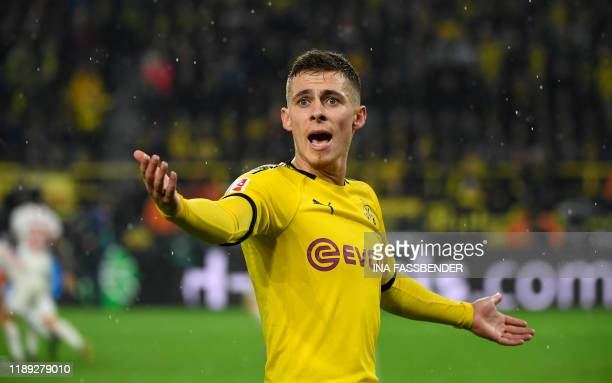 Dortmund's Belgian forward Thorgan Hazard reacts during the German first division Bundesliga football match Borussia Dortmund v RB Leipzig on...